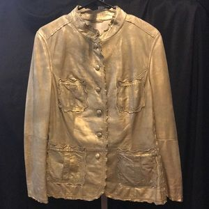 Gimos gold leather 48 italy jacket 12 xl